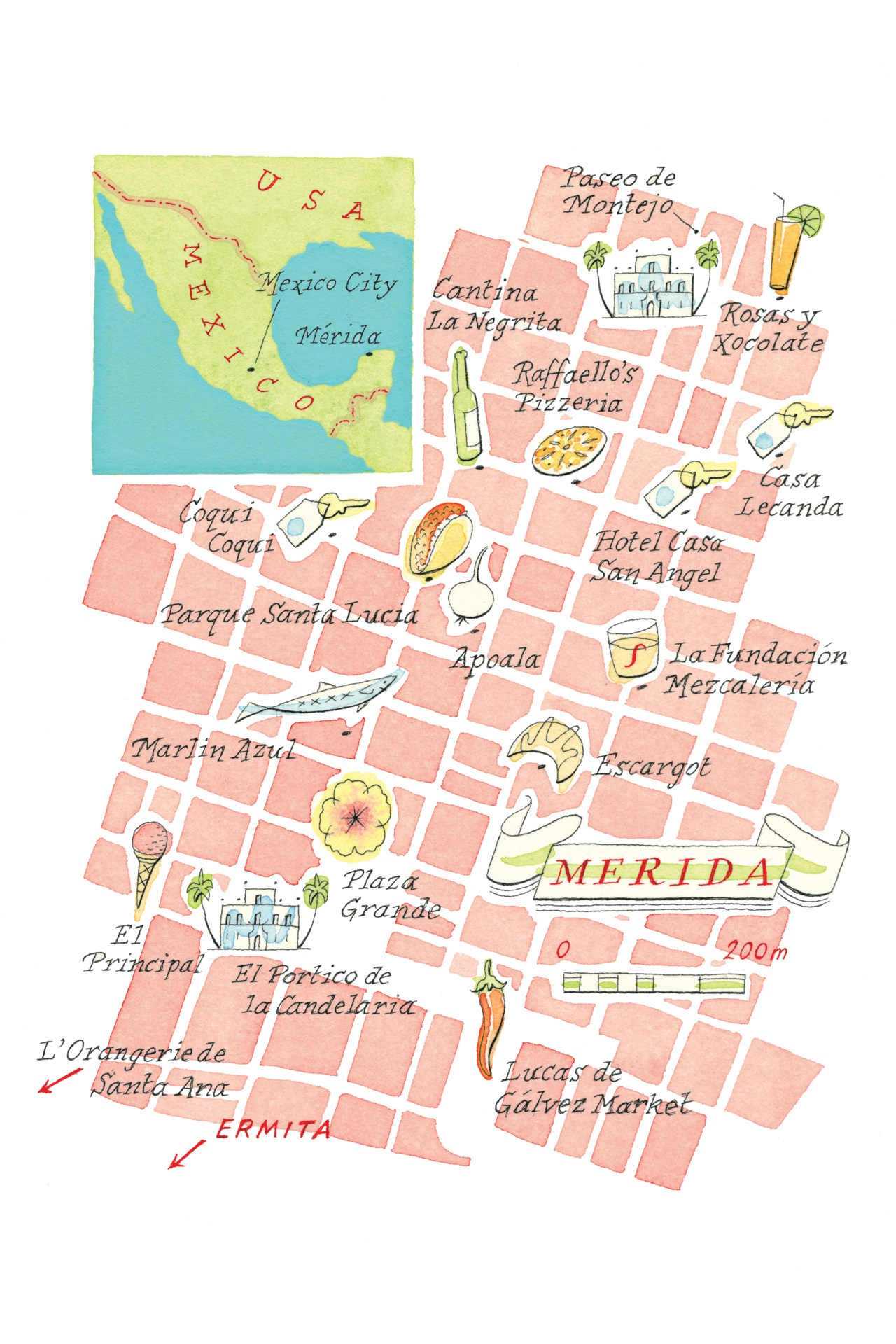 Merida Mexico Map Conde Nast Traveller 7july14 Neil Gower Urbano